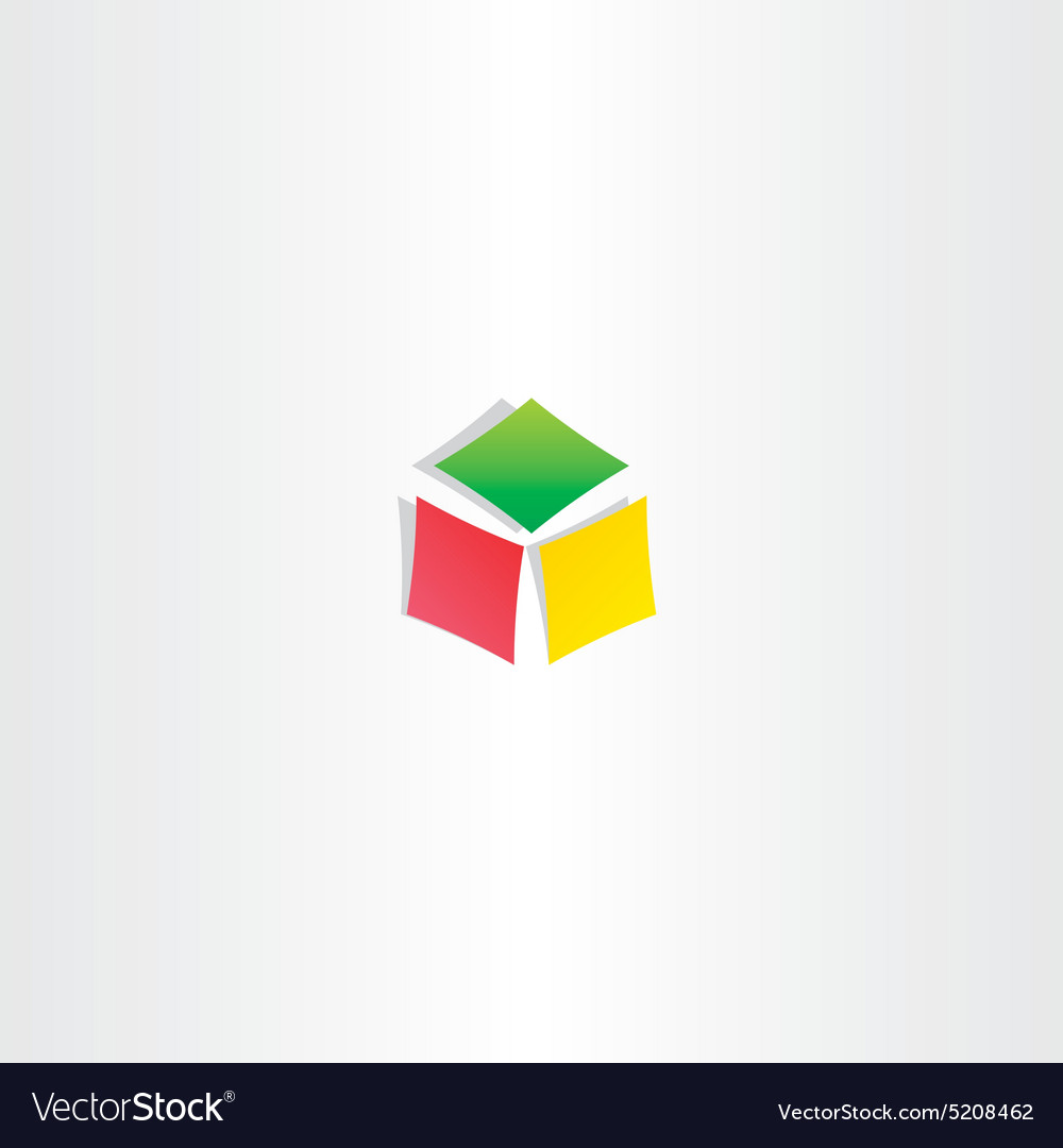 Color cube box icon logotype design vector