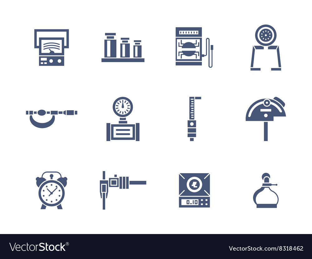 Measurement instruments glyph style icons vector
