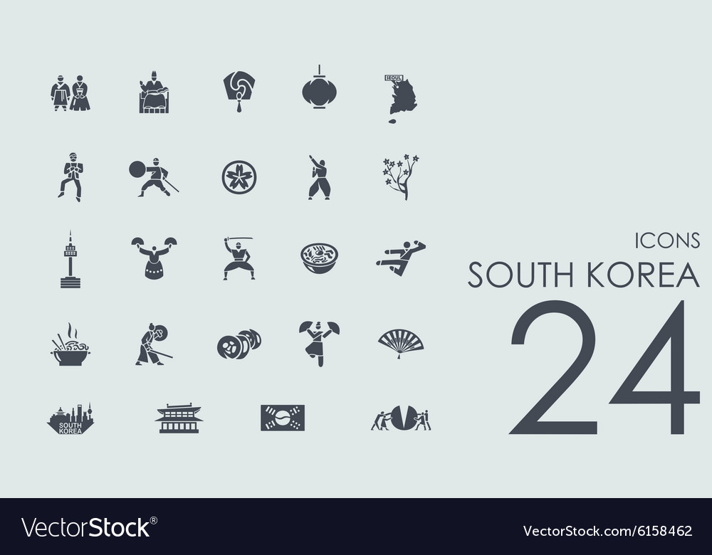 Set of south korea icons vector