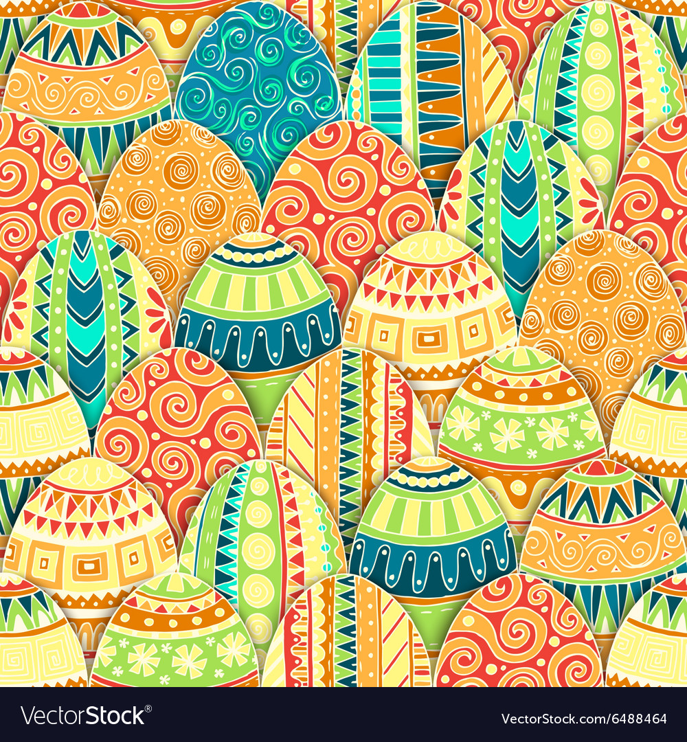 Handdrawn doodle easter seamless pattern vector