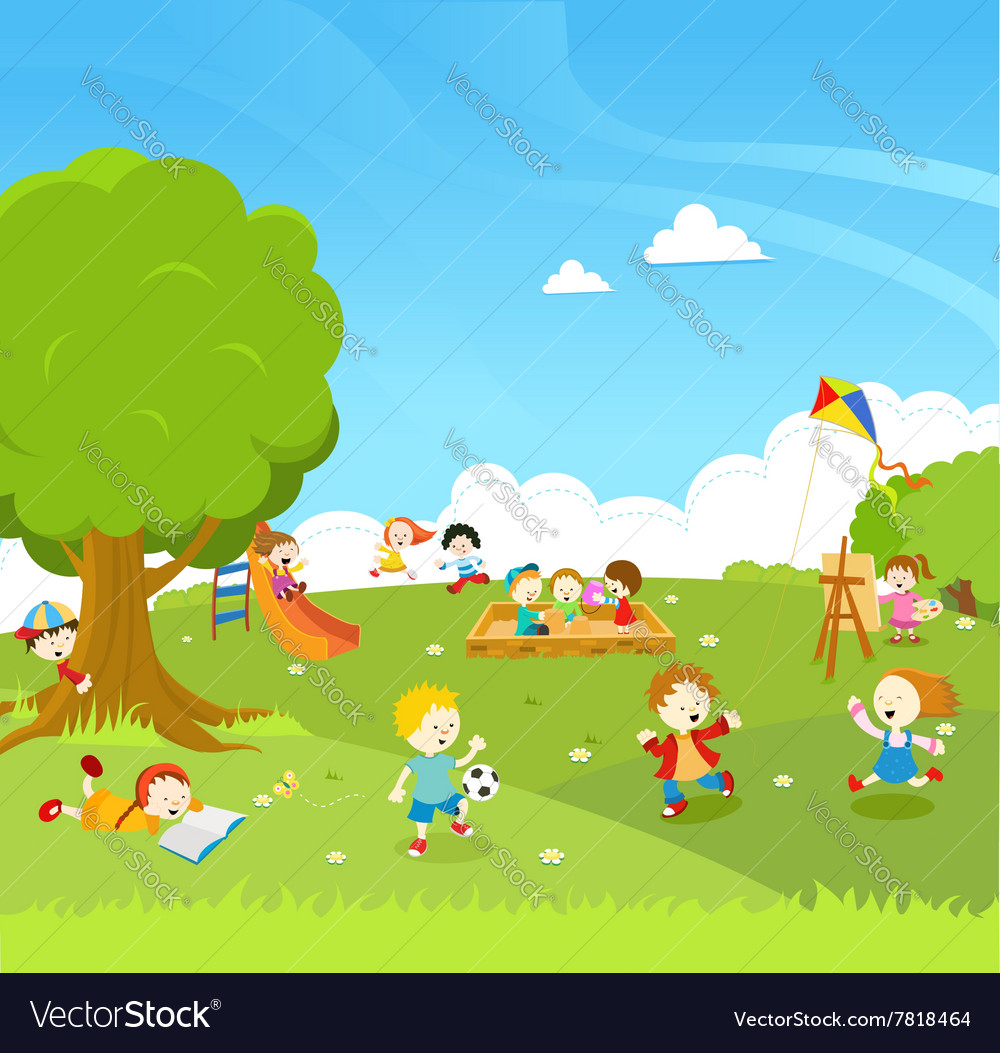 Kids playing at park vector
