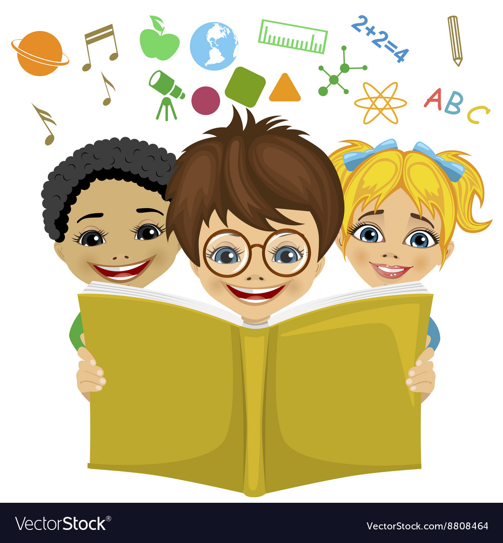 Kids reading a book with education related icons vector