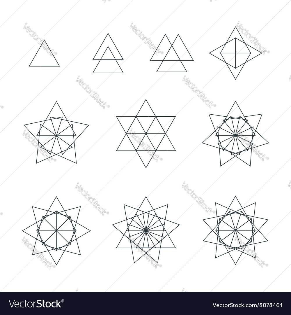Triangle contour various sacred geometry set vector