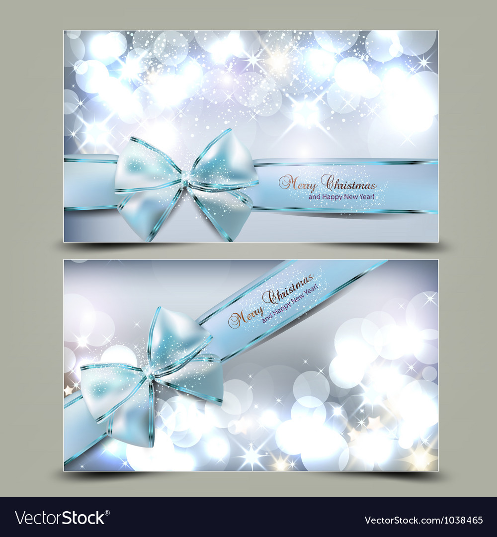 Elegant christmas greeting cards with blue bows vector
