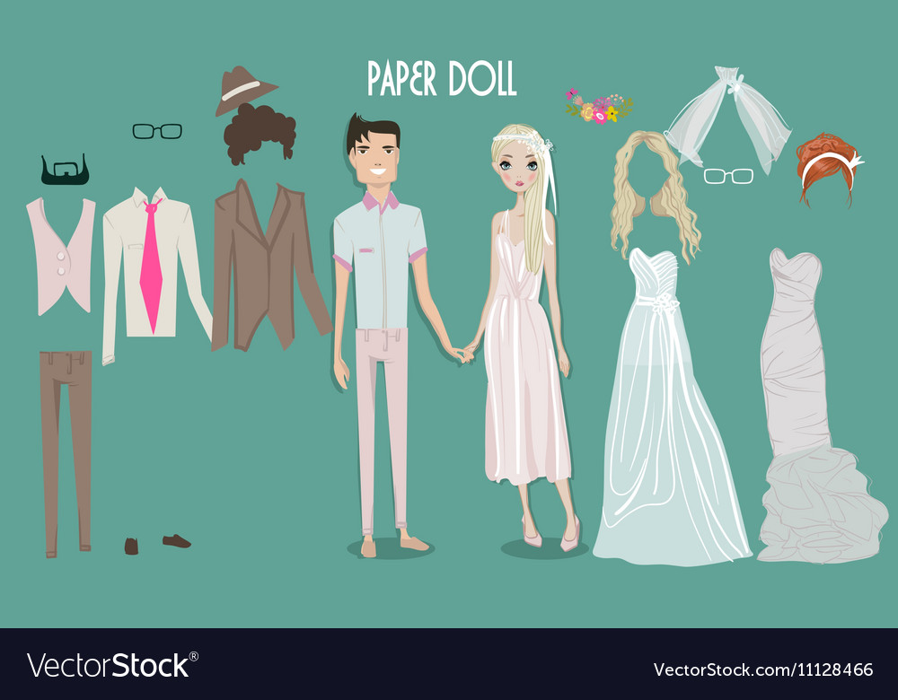 Cartoon girl doll with clothes for changes vector