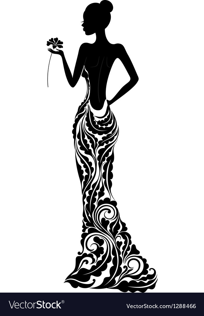 Girl in a dress with floral ornament vector