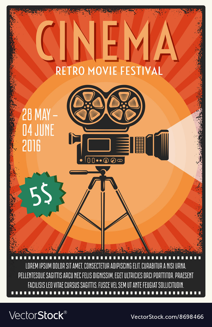 Retro movie festival poster vector