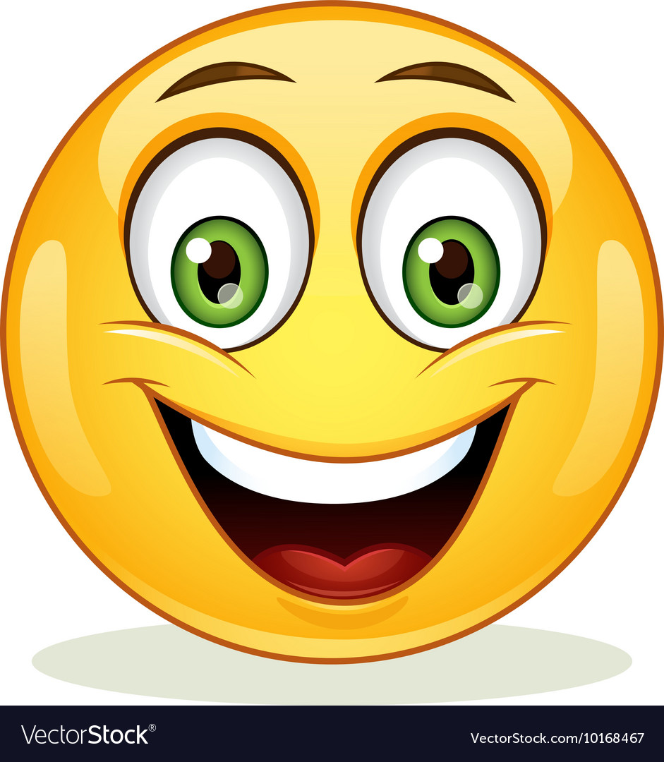 Emoticon with happy face vector