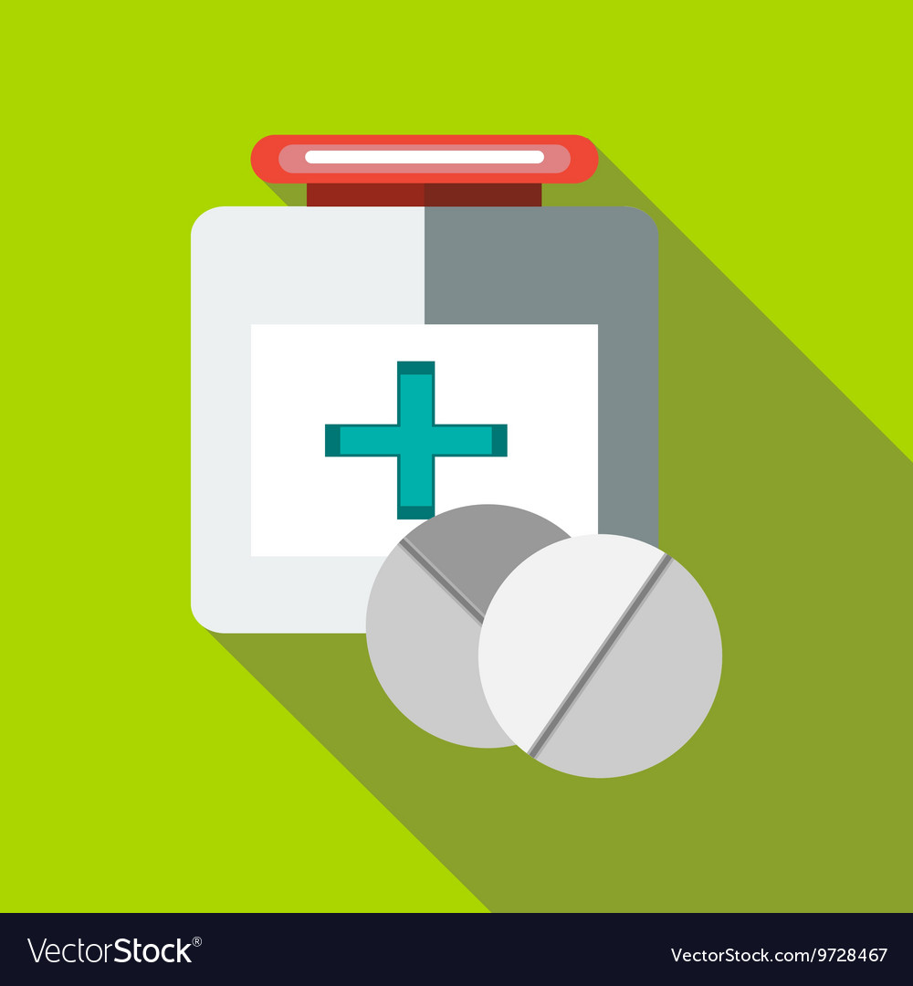 Medicine bottle and tablets icon flat style vector
