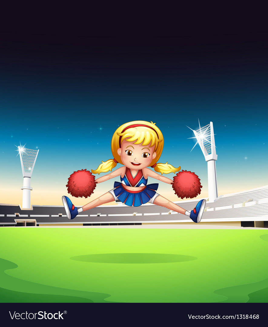 A little cheerleader in the field vector