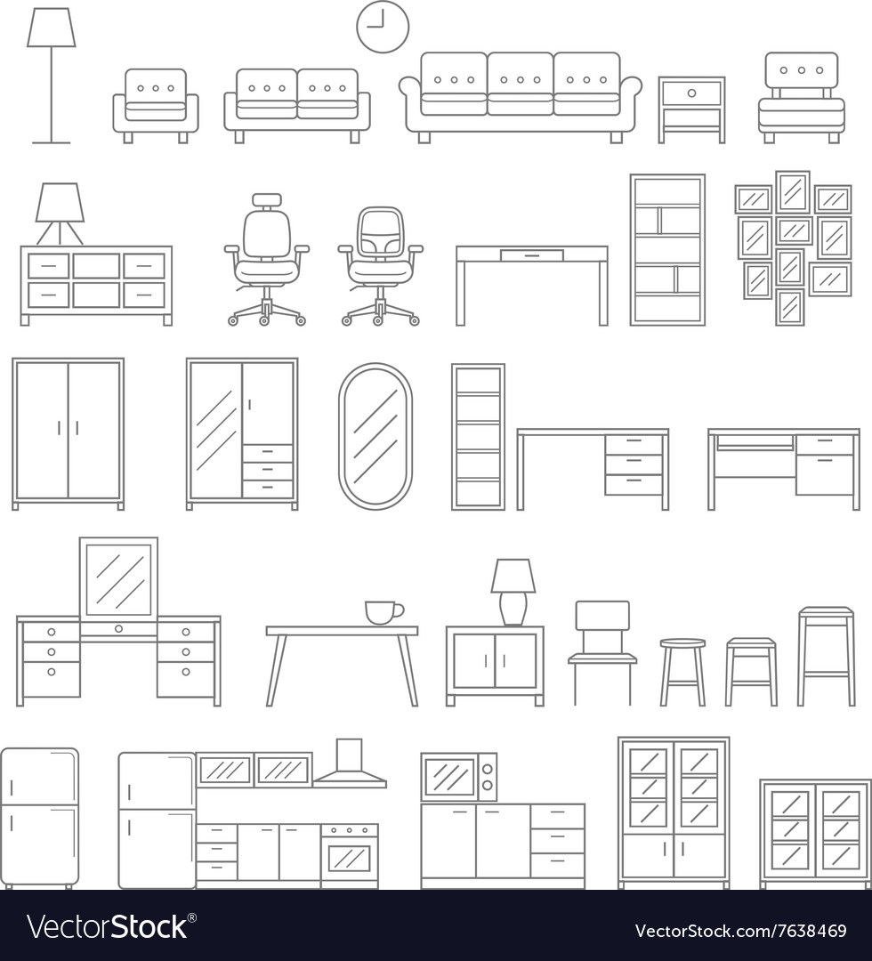 Furniture line icons style vector