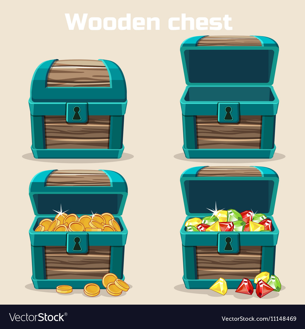 Opened and closed chest with coins diamonds vector