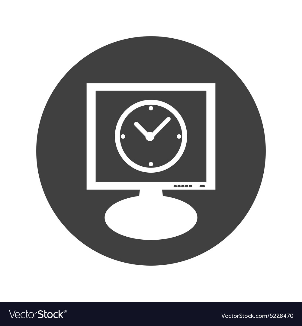 Round clock monitor icon vector