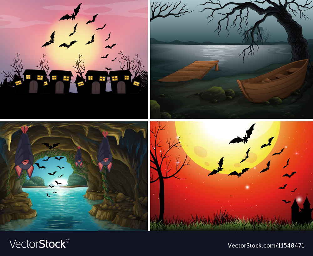 Four scenes with bats at night vector