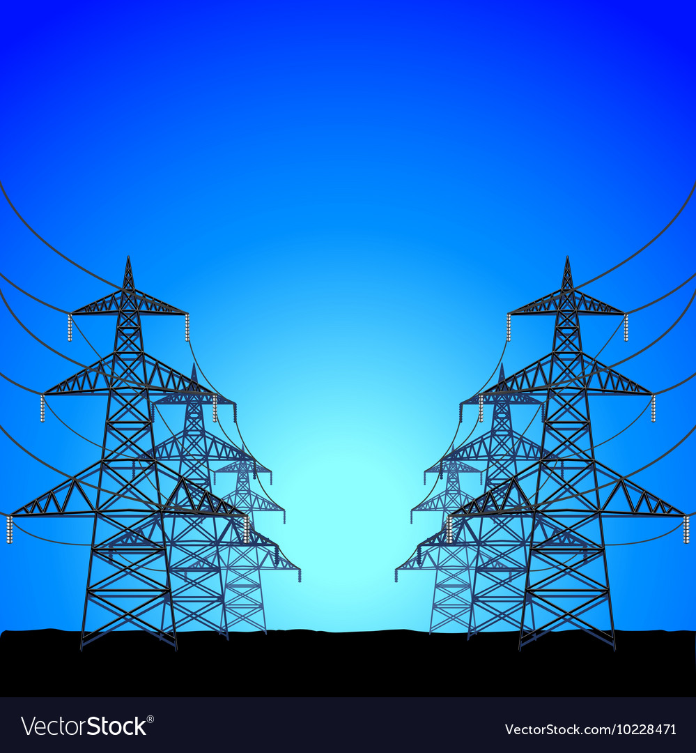 Highvoltage power towers background vector