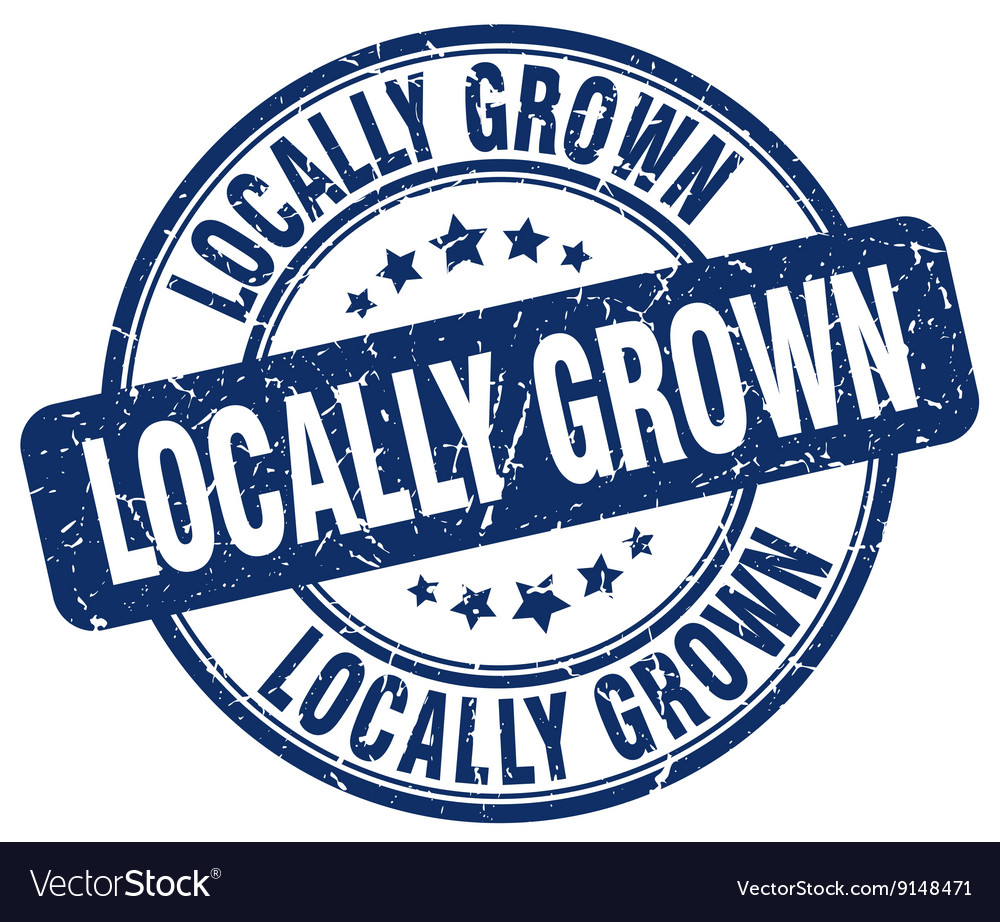 Locally grown blue grunge round vintage rubber vector