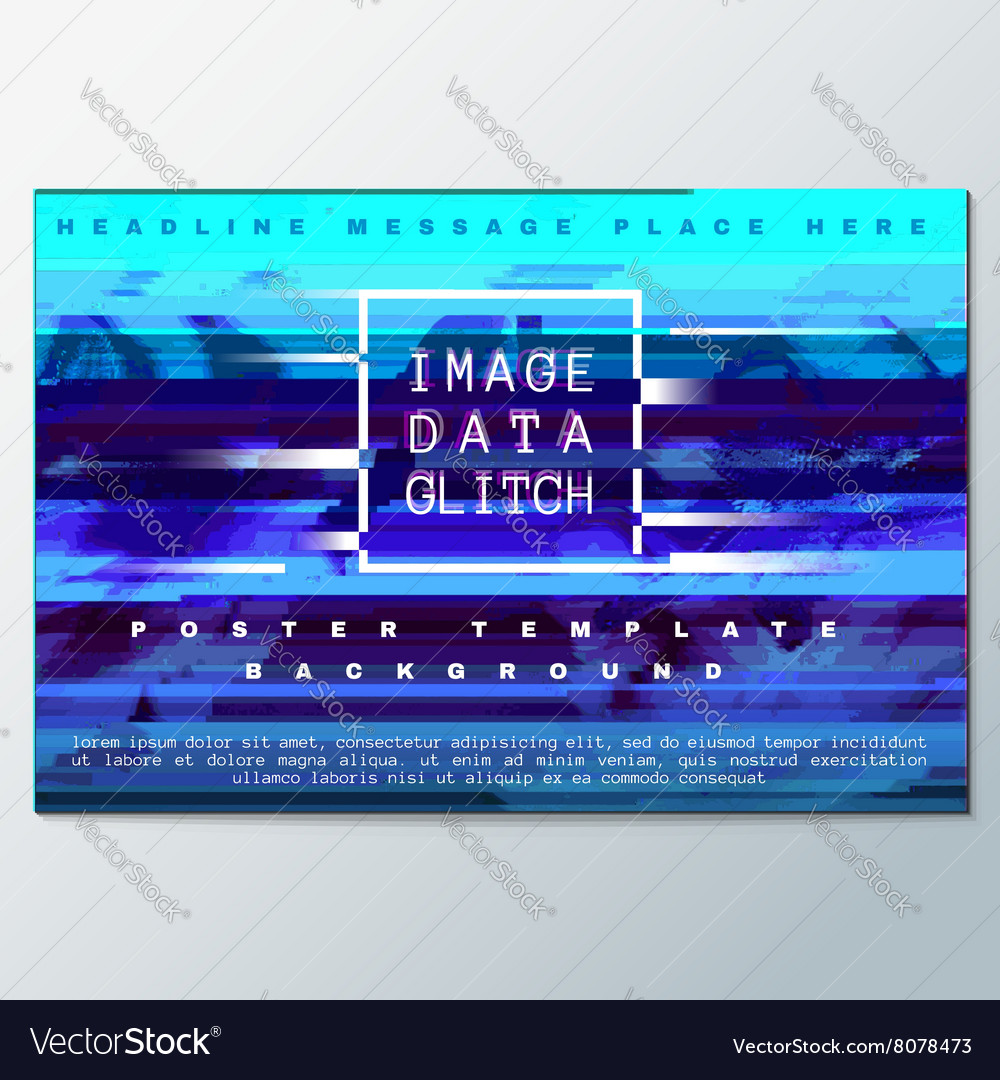 Colored glitch design background poster template vector