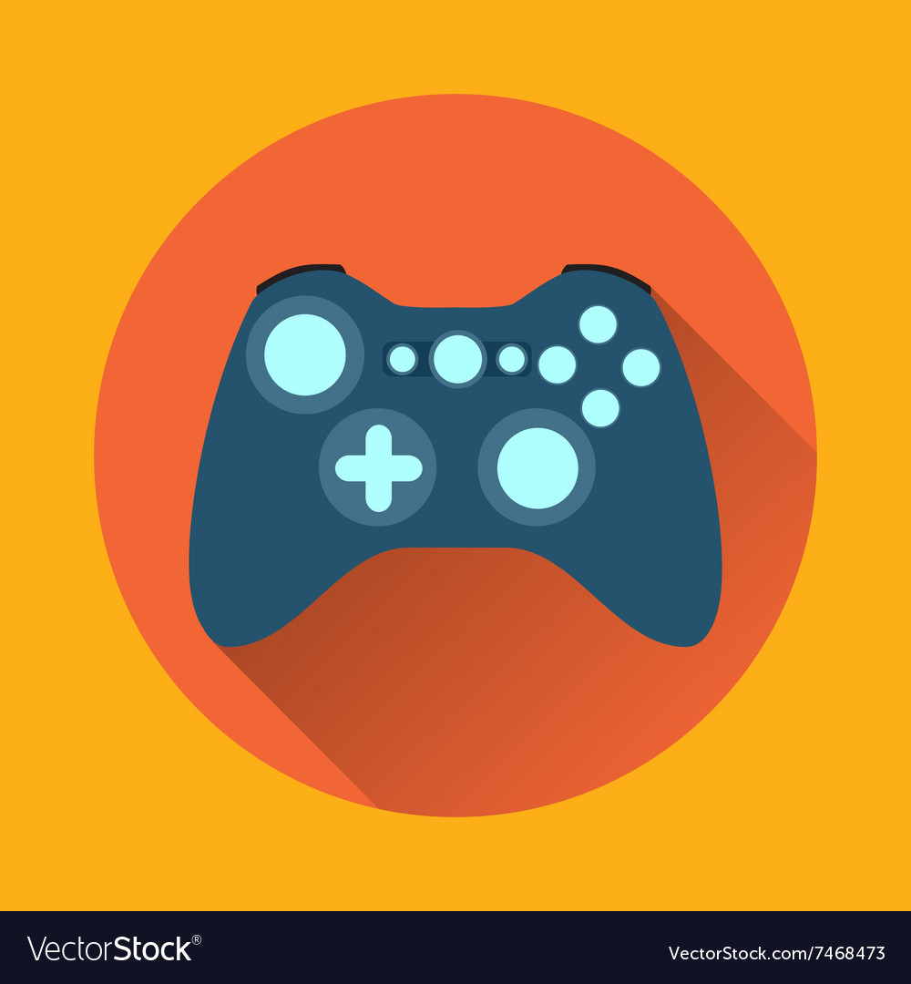 Game controller flat icon with long shadow vector