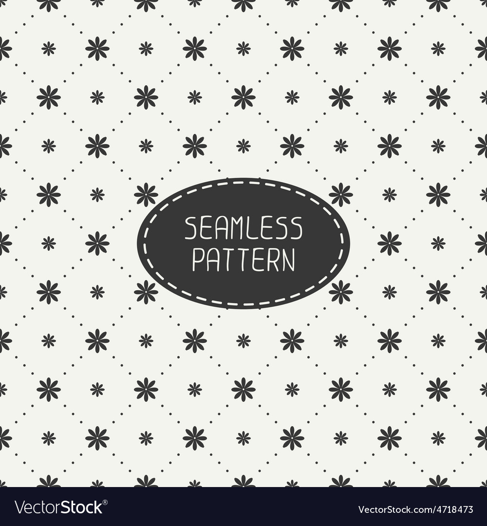 Geometric floral seamless pattern with flowers vector