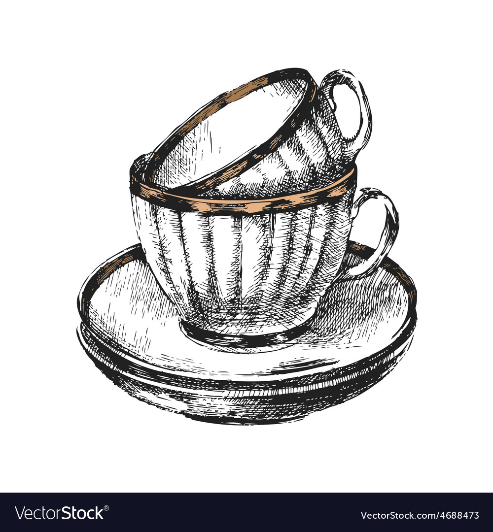 Hand drawn cups with saucers vector