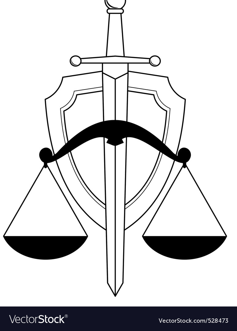Low shield sword and scales vector