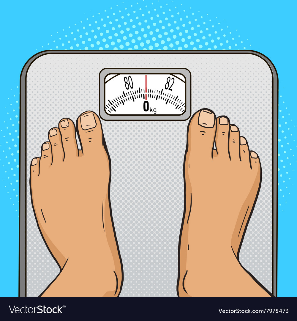 Man feet on the floor scales pop art style vector