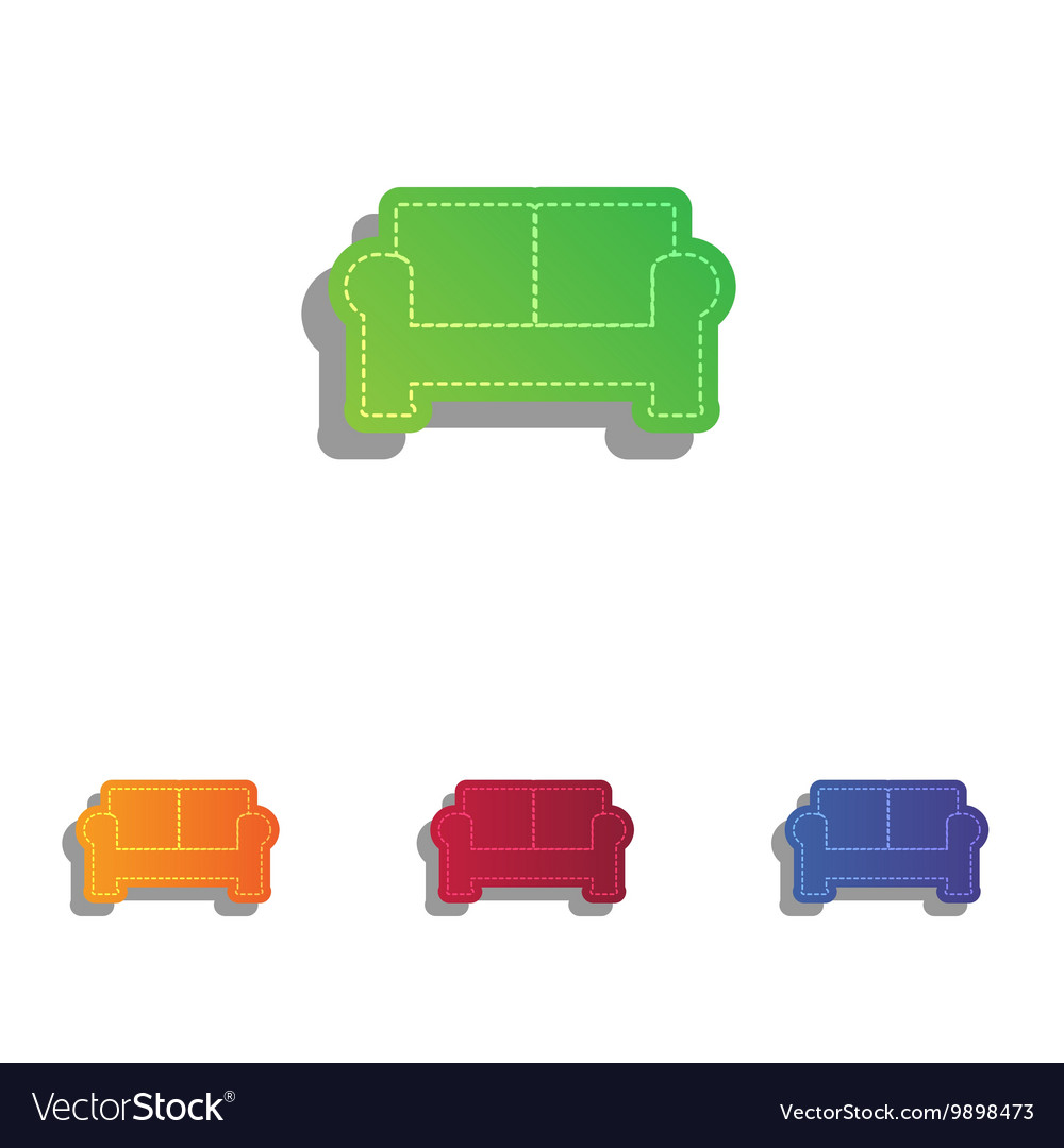 Sofa sign colorfull applique icons vector