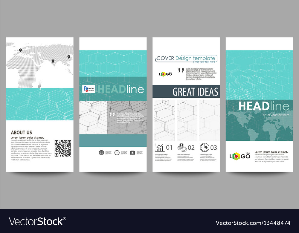 Flyers set modern banners business templates vector