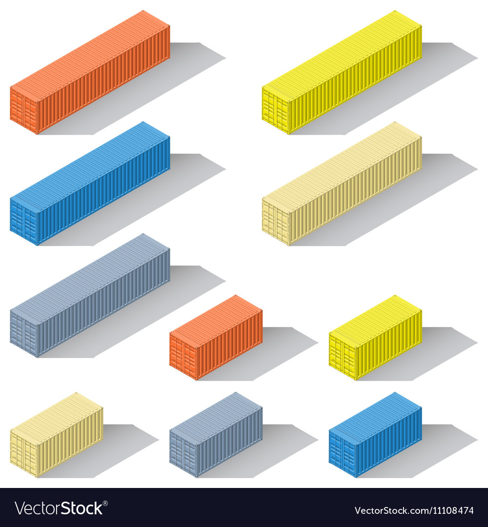 Forty and twenty foot sea containers of different vector