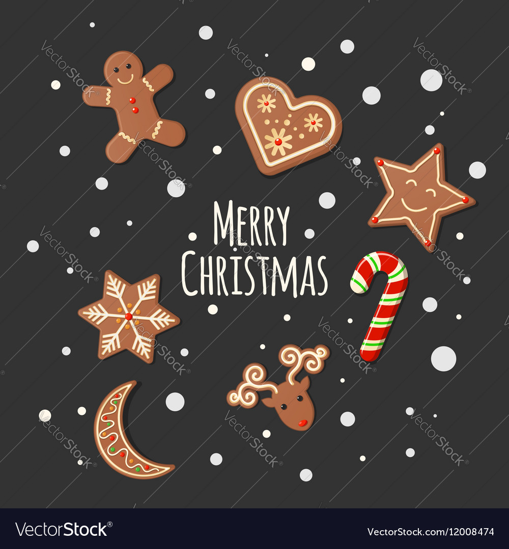 Gingerbread cookies  merry christmas sign vector