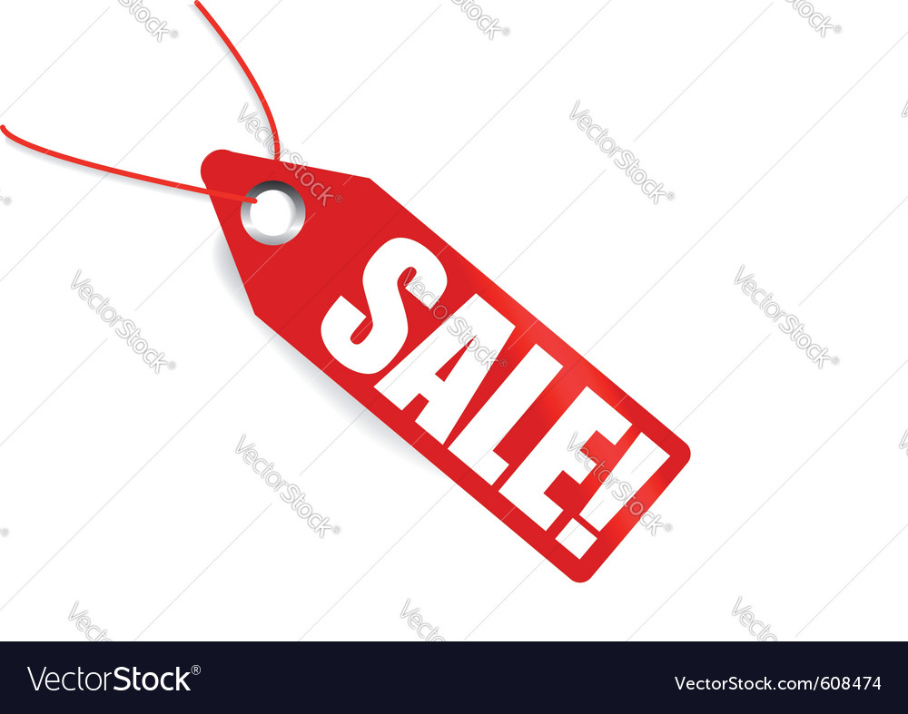 Red pricetag showing sale vector