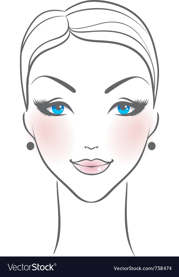 Woman front face vector
