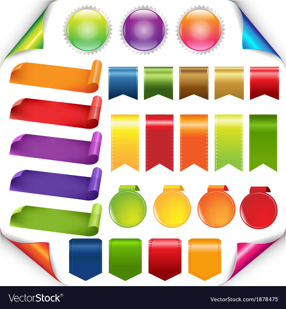 Colorful ribbons and label set vector