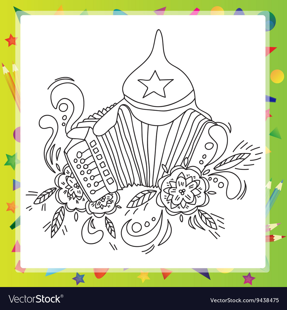 Coloring book for children  musical instruments vector