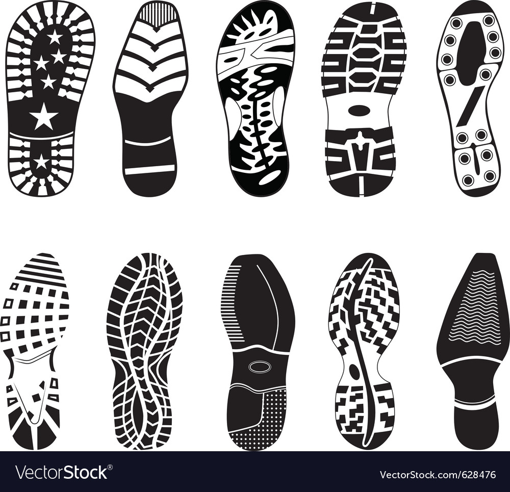 A collection of various highly detailed shoe track vector