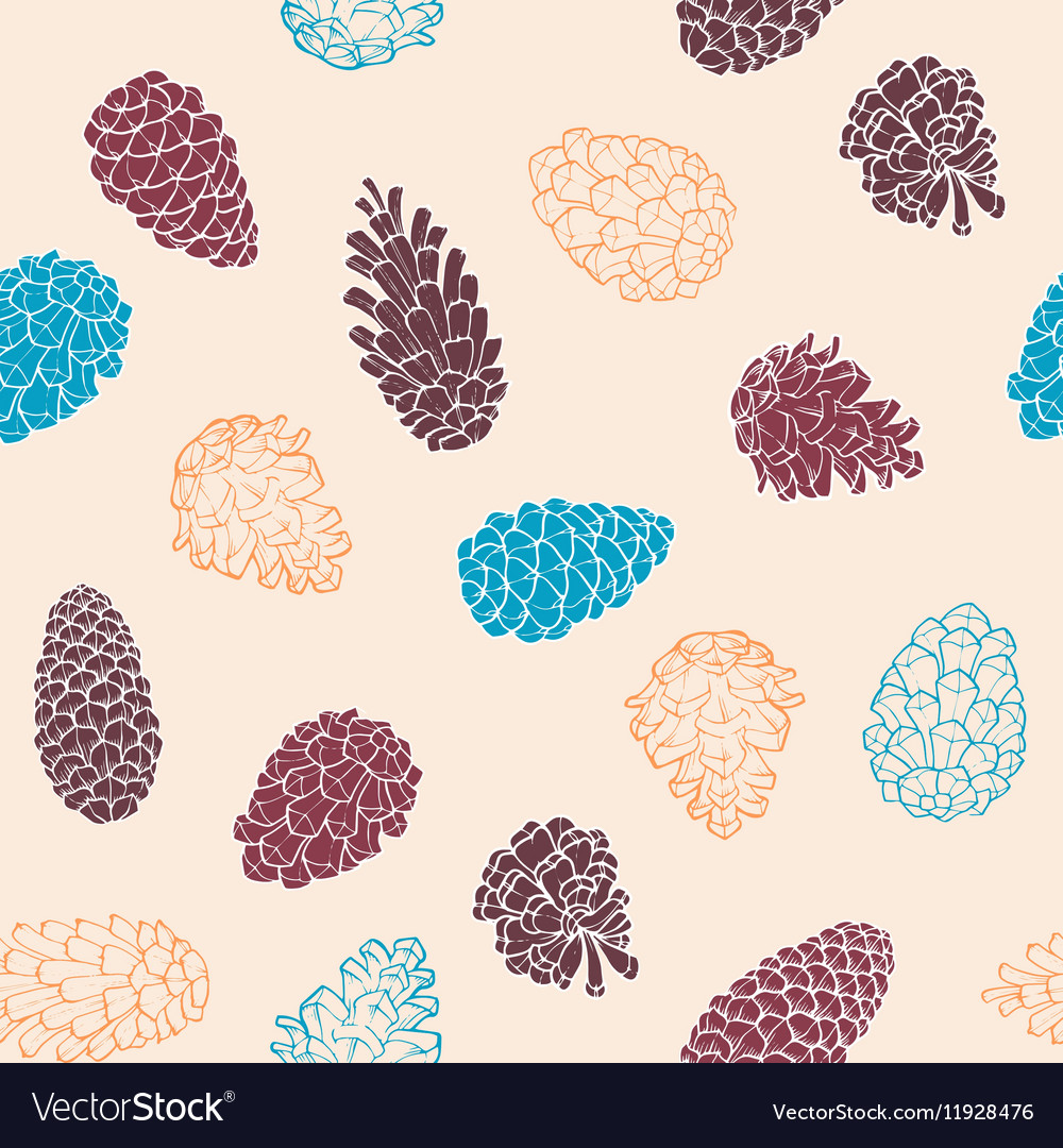 Handdrawn seamless pattern with pine cones of vector