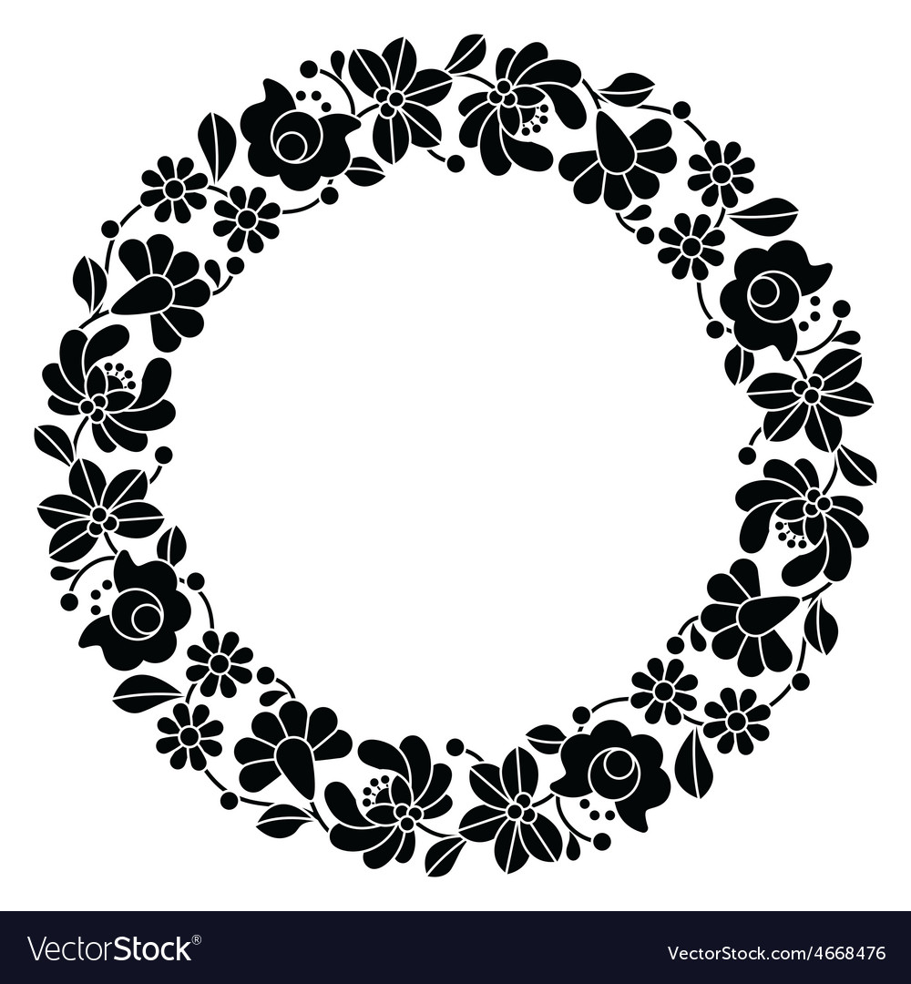 Kalocsai black embroidery in circle  hungarian vector