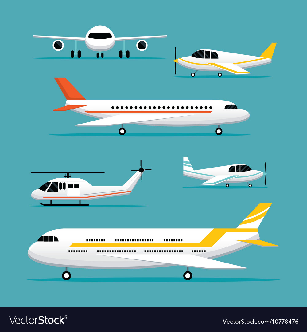 Plane light jet objects flat design set vector