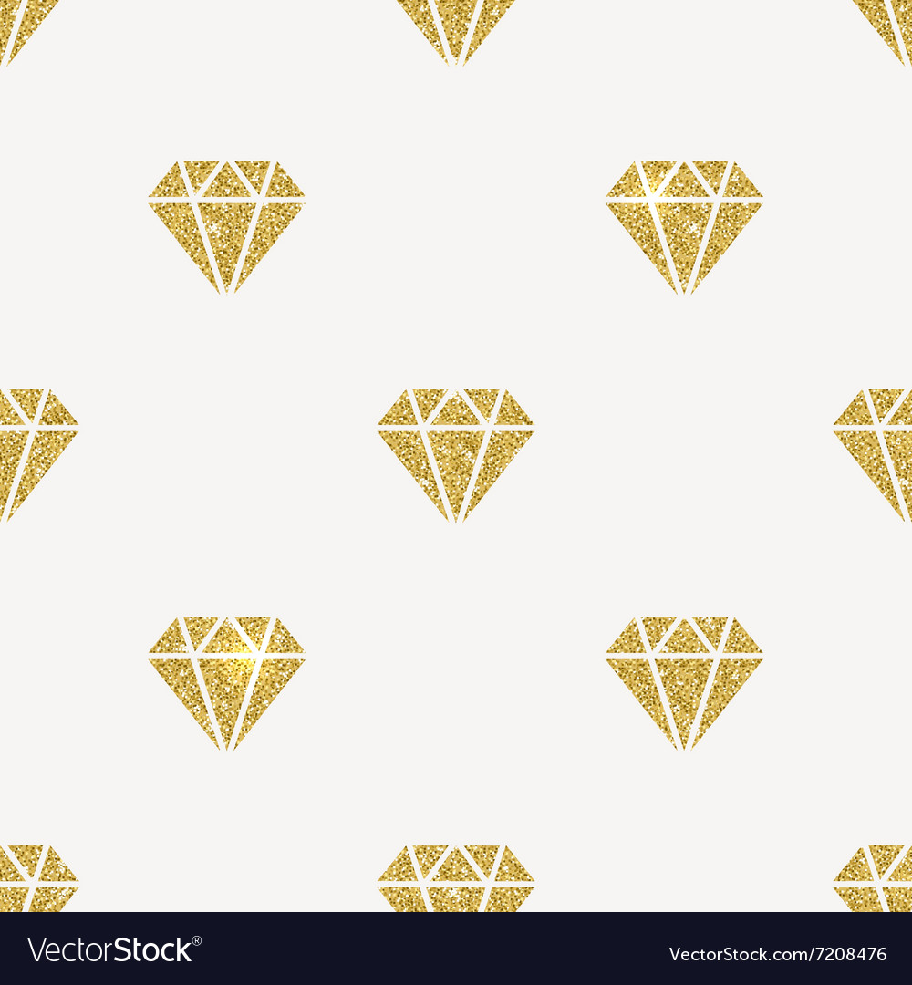 Seamless background glitter gold diamonds vector