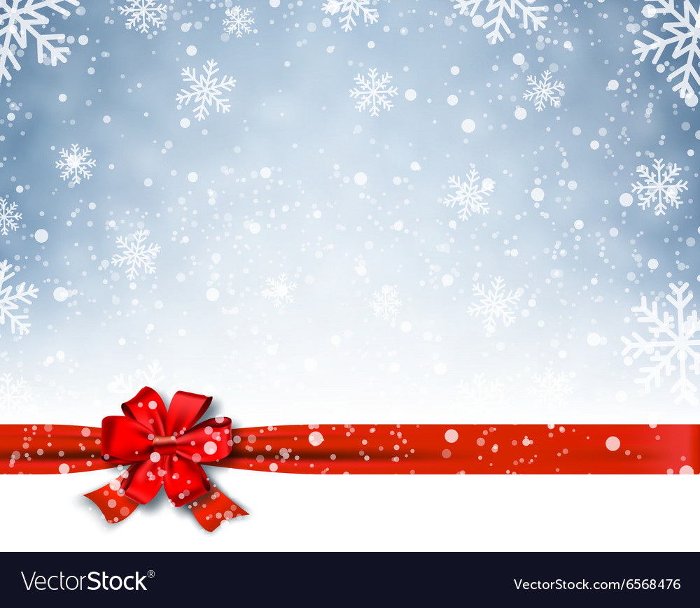 Winter background with red bow vector