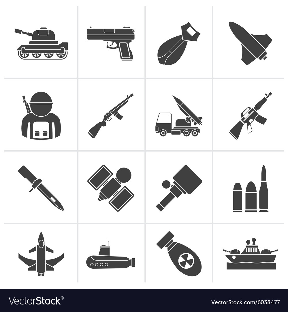 Silhouette army weapon and arms icons vector