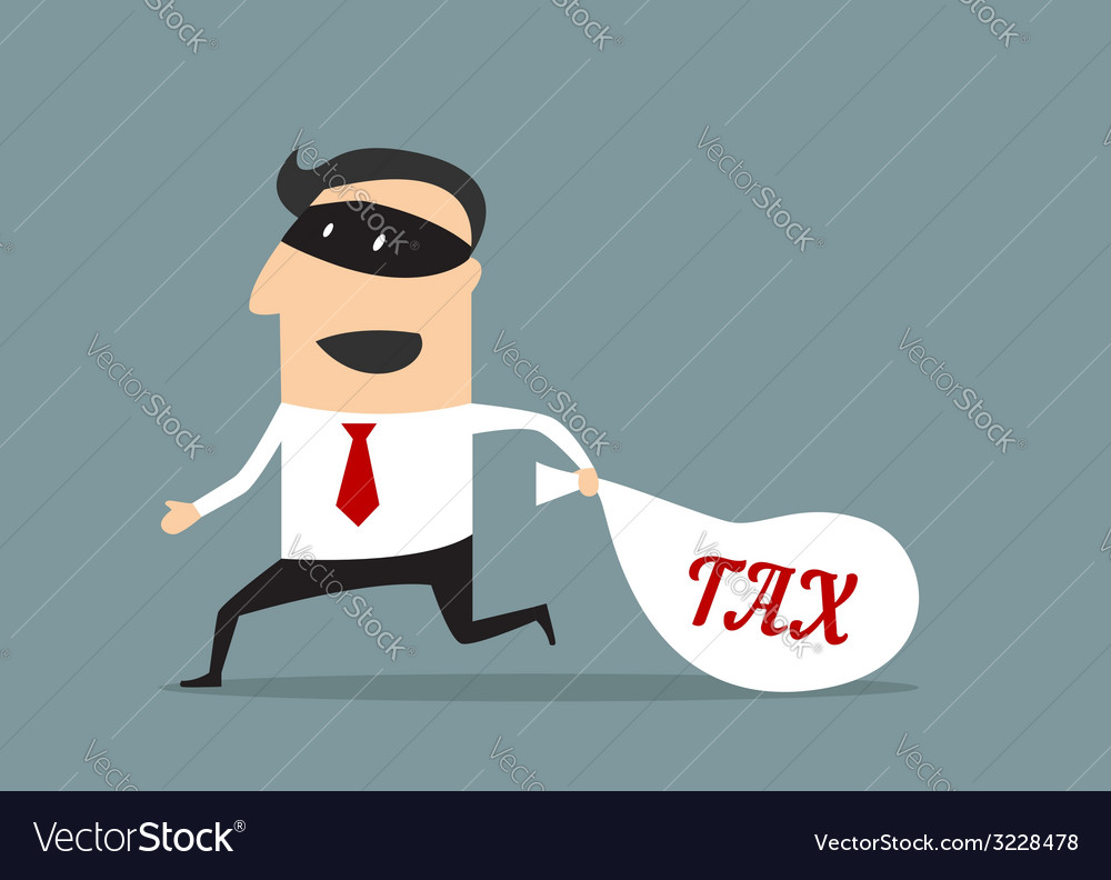 Businessman stealing tax money vector