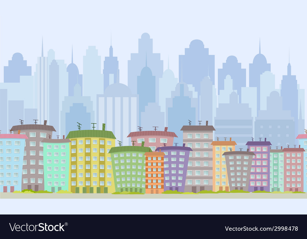 Seamless border with cute houses for you design vector