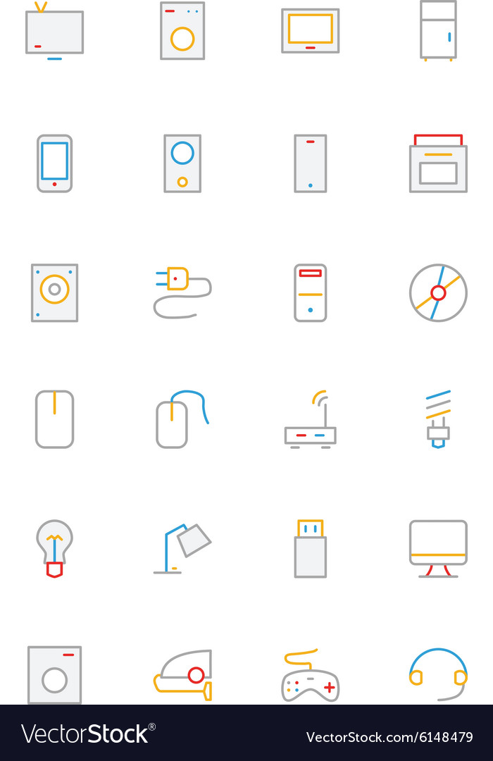 Electronics and devices colored outline icons 1 vector
