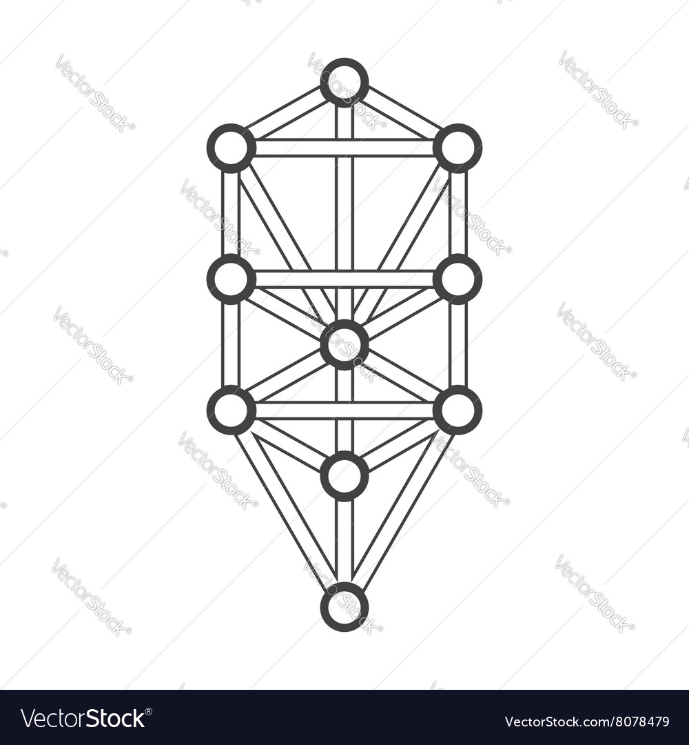 Monochrome outline sacred tree of life diagram vector