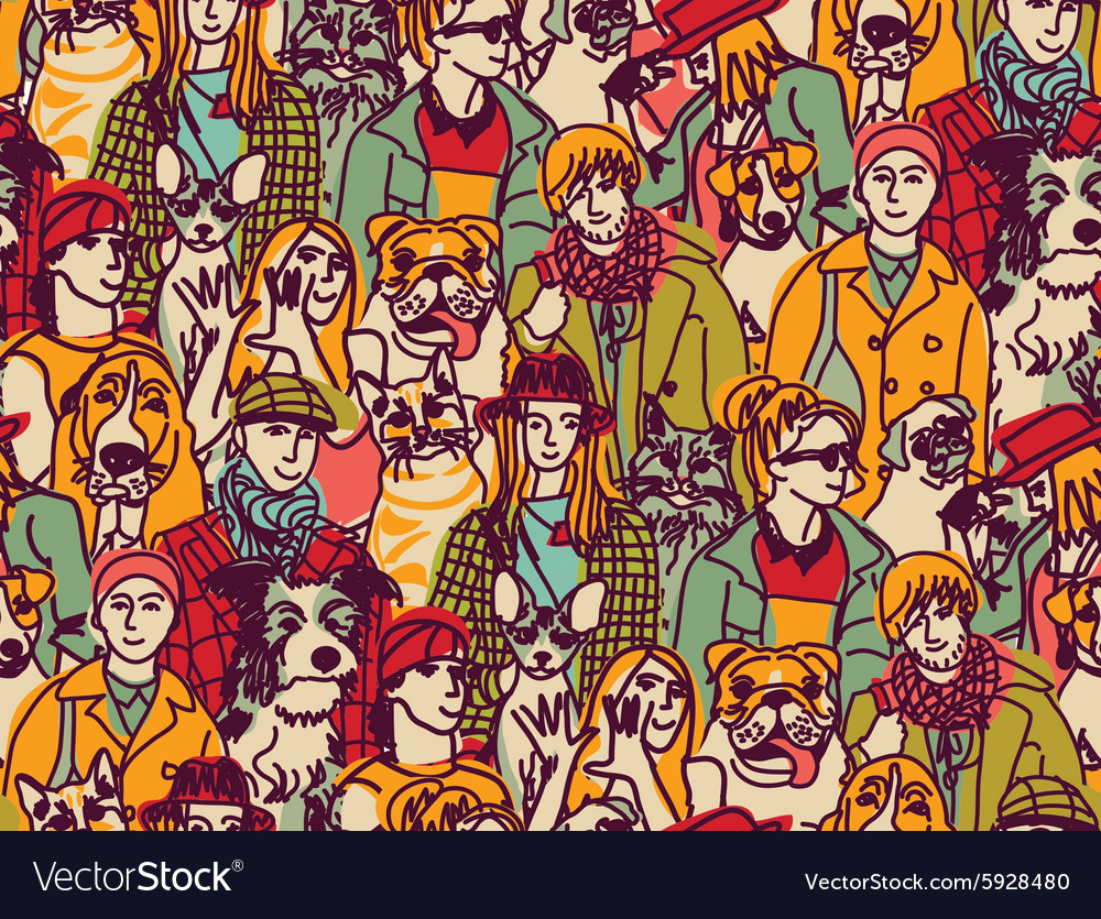 Big group people and pets color seamless pattern vector
