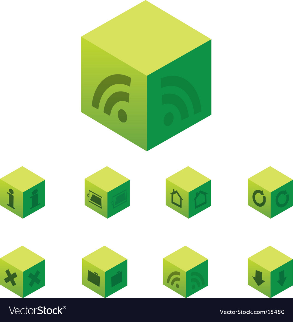 Cubical web 20 icon set vector