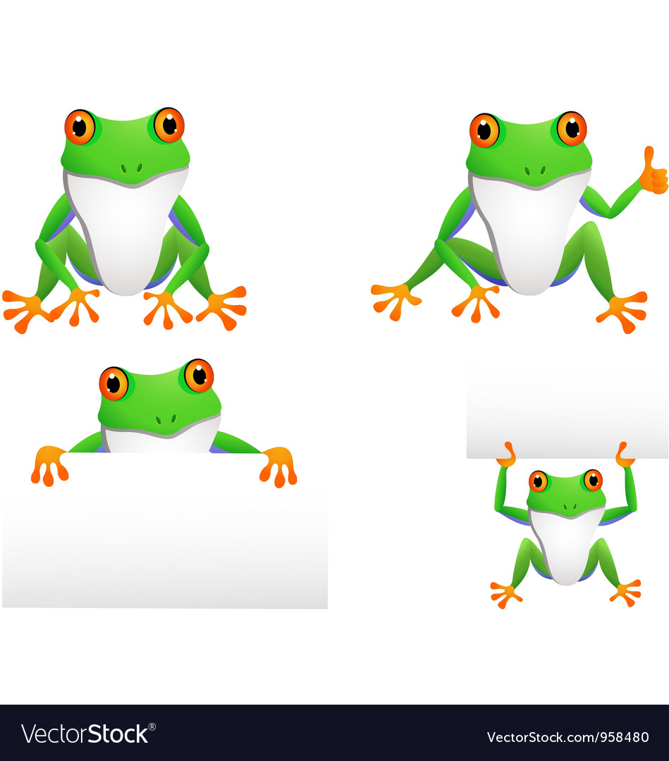 Funny frog collection vector