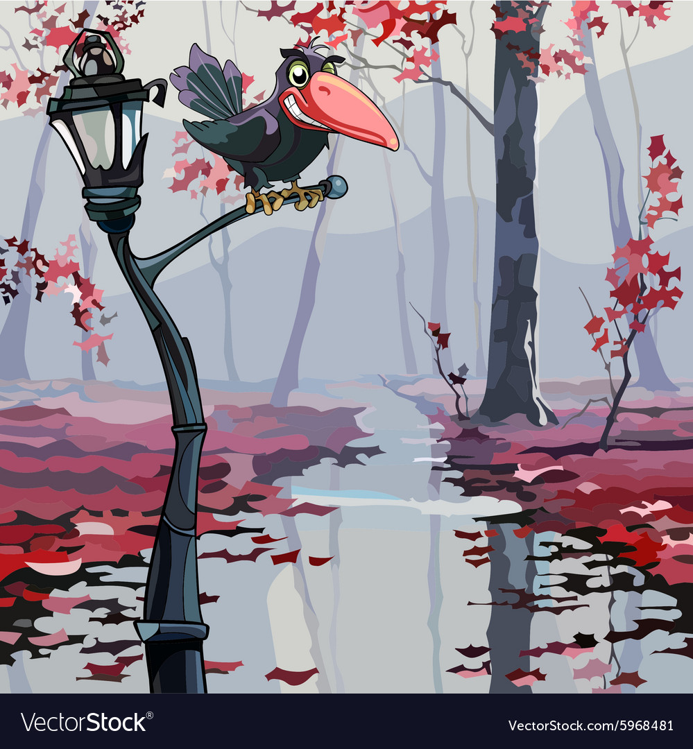 Cartoon crow sitting on a lantern in the autumn vector