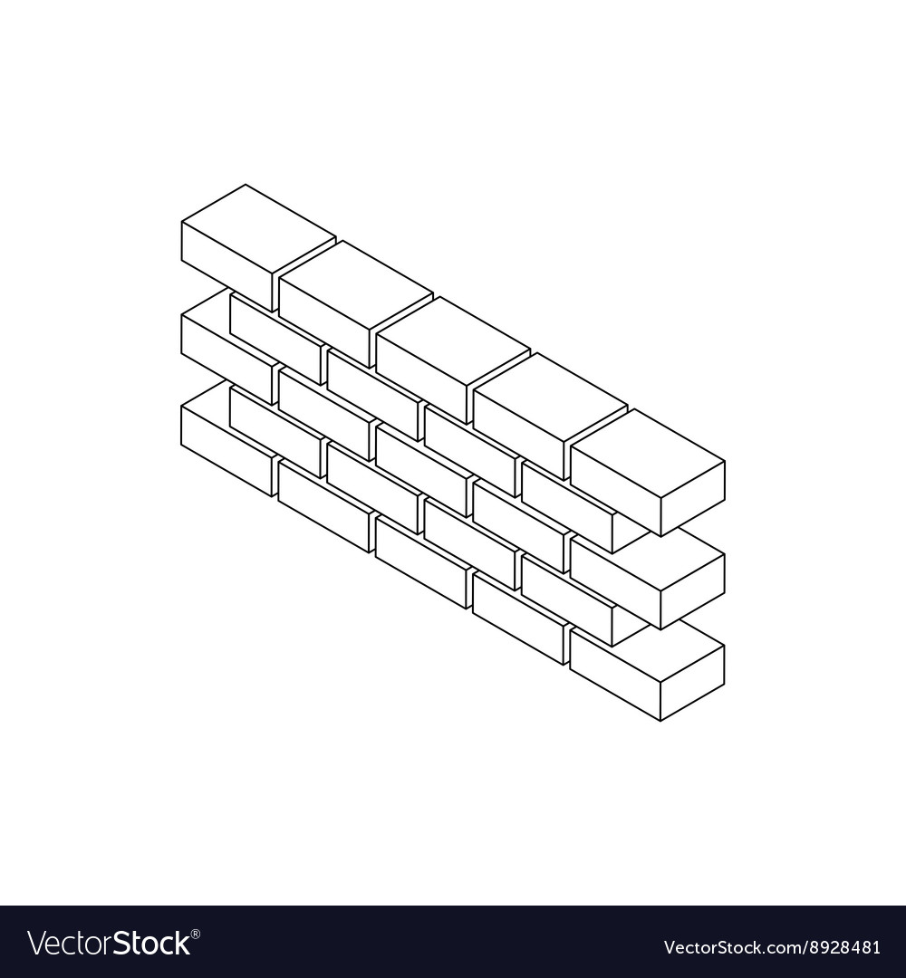 Part of brick wall icon isometric 3d style vector